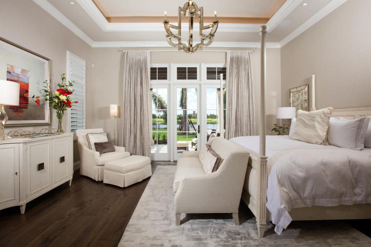 Home Design: Subdued lighting in the master bedroom facilitates rest and relaxation.