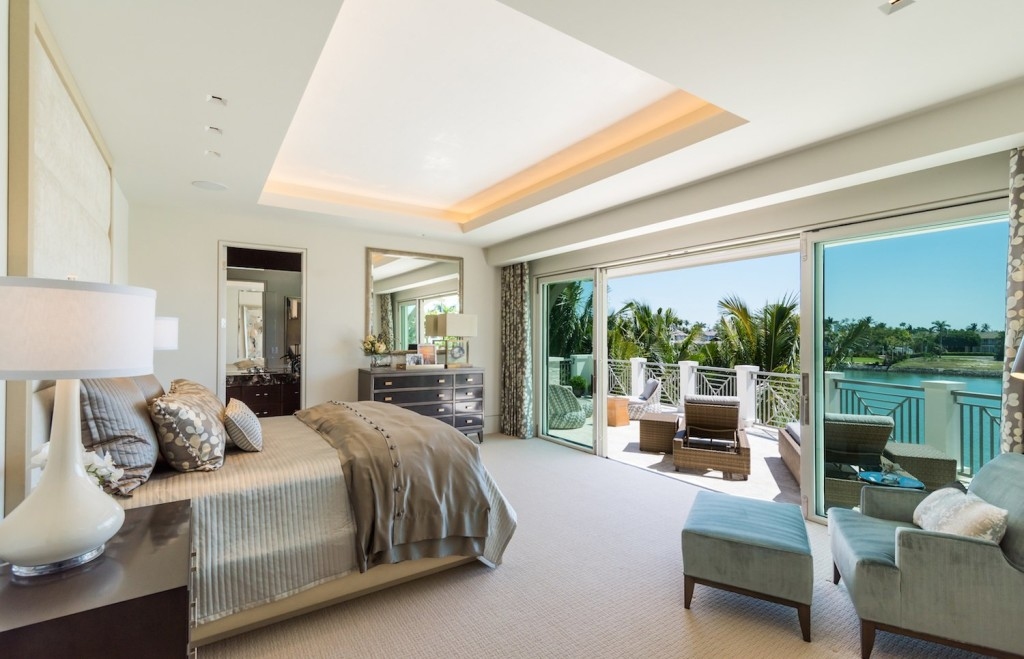Jennifer Stevens of Romanza Interior Design designed the master suite around the gorgeous views of Cutlass Cove