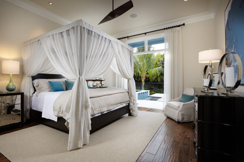Relax and rejuvenate in the master suite of the Chelston, designed by Melissa Allen of Romanza Interior Design.
