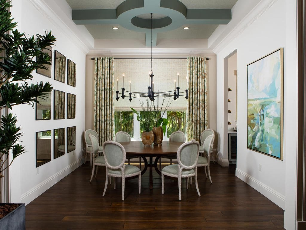 Sea Green mixed with other earthy tones to open the space.